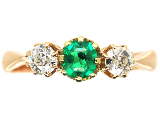 Edwardian 14ct Gold, Three Stone Diamond & Emerald Ring