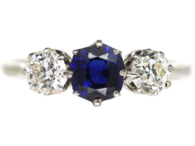 Art Deco 18ct White Gold and Platinum, Sapphire & Diamond Three Stone Ring