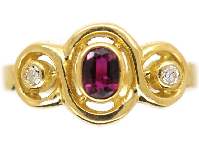 18ct Gold Ruby & Diamond Triple Twist Ring