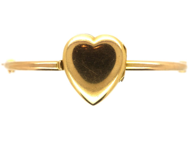 Edwardian 15ct Gold Heart Shape Locket on Bangle