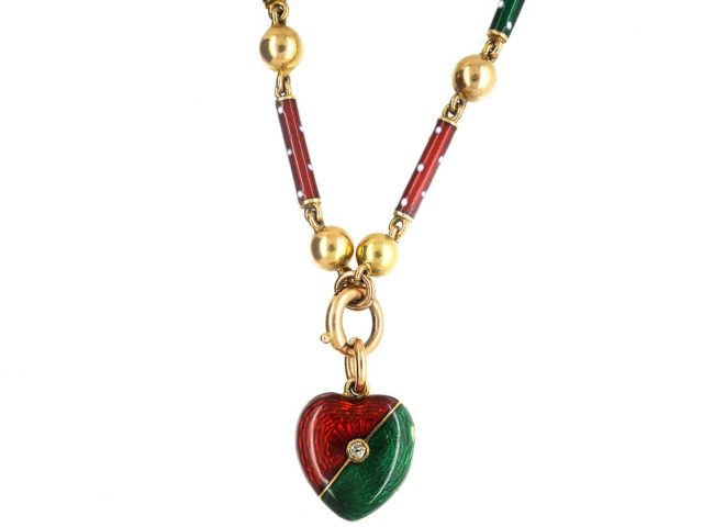 Edwardian 15ct Gold, Green & Red Enamel Heart Locket set with a Diamond on matching 15ct Gold Green & Red Enamel Chain