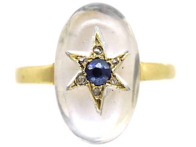 18ct Moonstone, Rose Diamond & Sapphire Ring