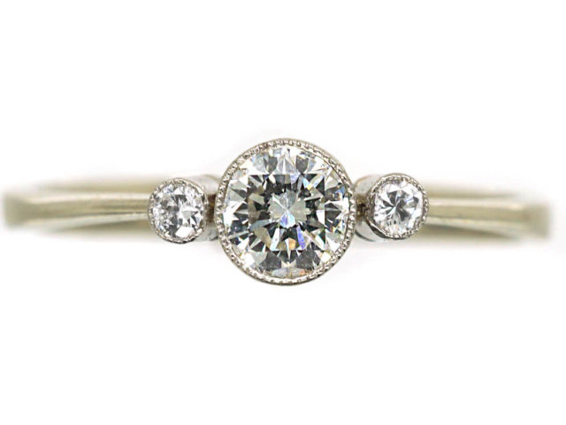 Edwardian 18ct White Gold Three Stone Diamond Ring