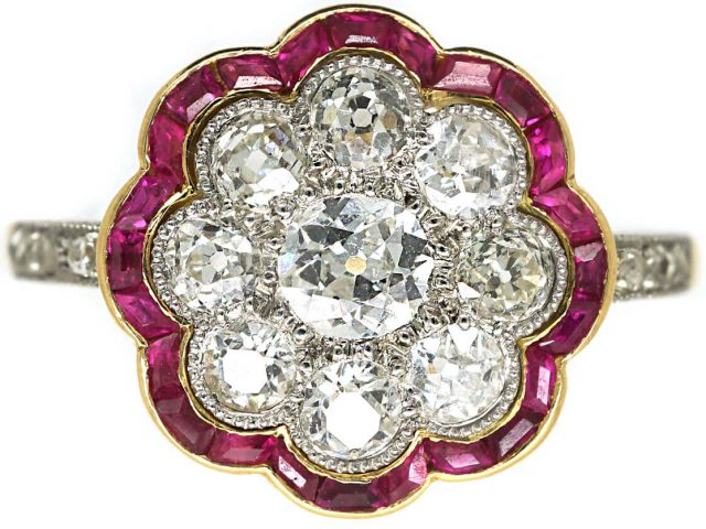 Art Deco 18ct Gold & Platinum, Diamond & Ruby Cluster Ring