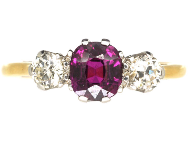 Art Deco 18ct Gold, Ruby & Diamond Three Stone Ring