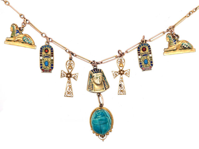 Art Deco 9ct Gold & Enamel Egyptian Revival Necklace