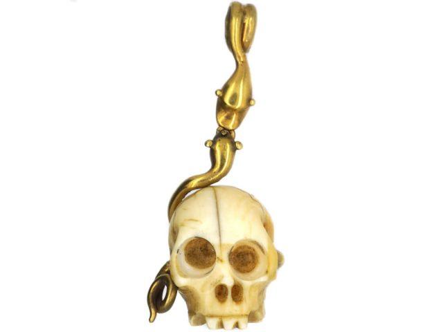 Victorian 18ct Gold & Bone Skull Memento Mori Pendant