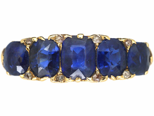 Victorian 18ct Gold Five Stone Sapphire & Rose Diamond Carved Half Hoop Ring
