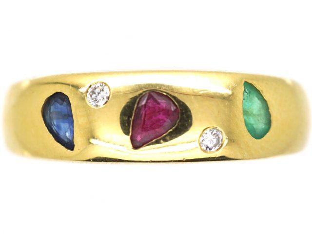 18ct Gold Sapphire, Emerald, Ruby & Diamond Ring