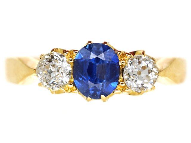 Edwardian Sapphire & Diamond Three Stone Ring