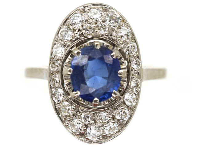 French Art Deco Platinum Oval Sapphire​ & Diamond Ring