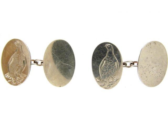 Silver Engraved Cufflinks of Grouse