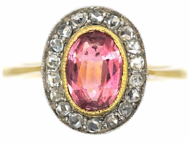 Edwardian 18ct Gold, Pink Tourmaline & Rose Diamond Cluster Ring