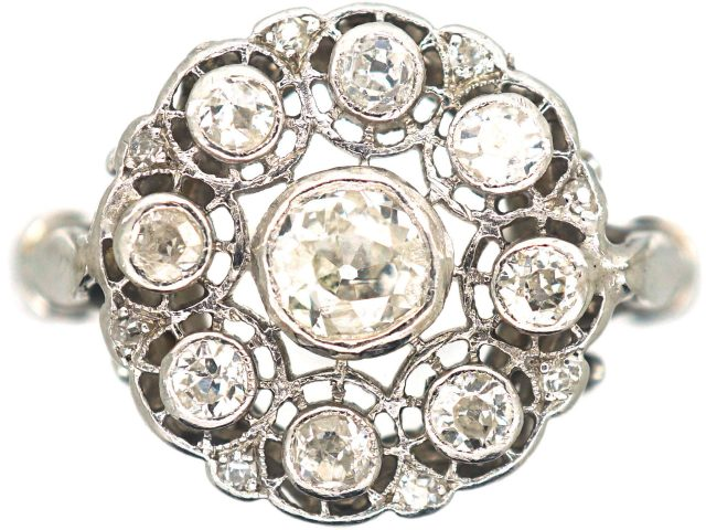 Art Deco 18ct White Gold, Diamond Cluster Ring
