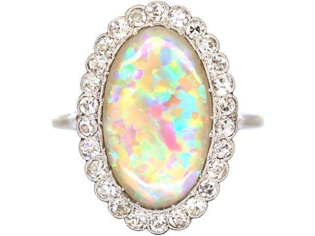 Art Deco Diamond & Large Harlequin Opal Oval Shaped Ring