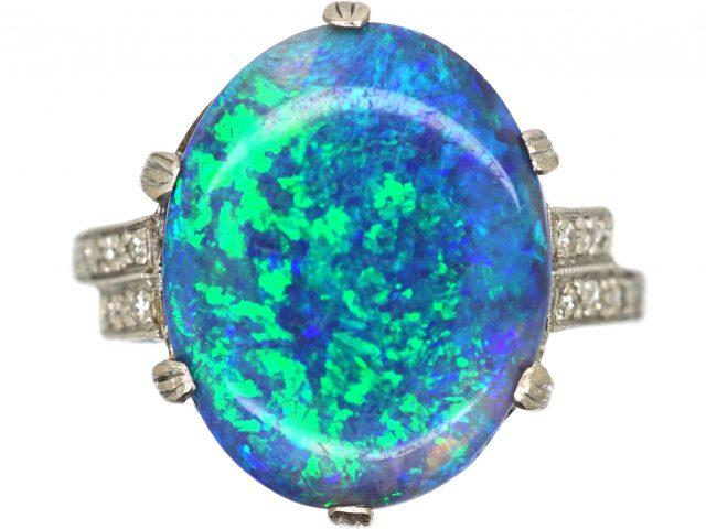 Art Deco 18ct White Gold & Platinum, Black Opal & Diamond Ring