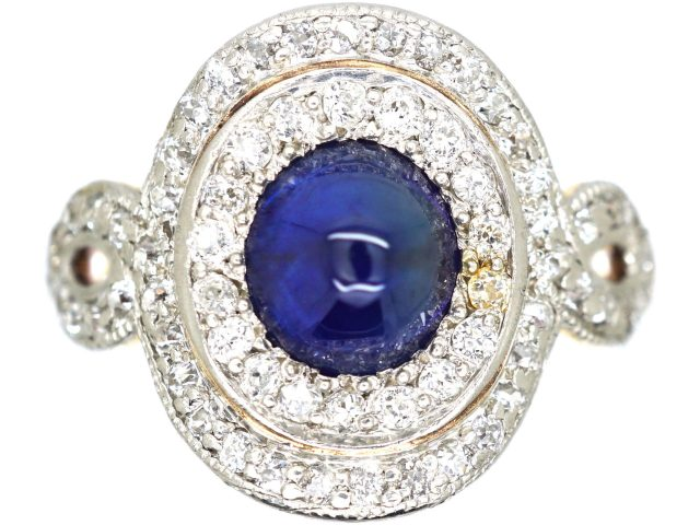 Art Deco 18ct Gold & Platinum, Cabochon Sapphire & Diamond Cluster Ring by Bailey Banks & Biddle