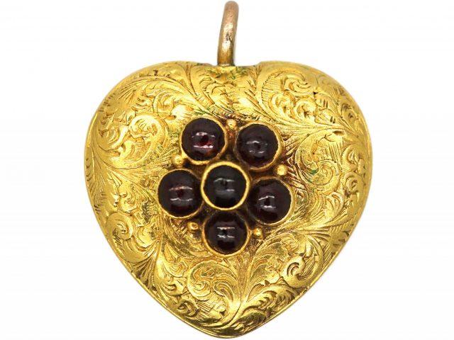 Regency 15ct Gold Heart Pendant set with Garnet Flower Cluster with Locket on Reverse