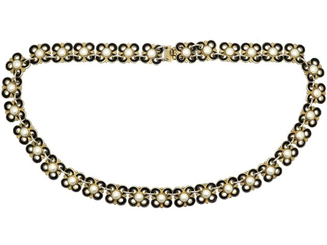 Mid 20th Century Gilded Silver & Black & White Enamel Necklace by Willy Winnaes for David Andersen