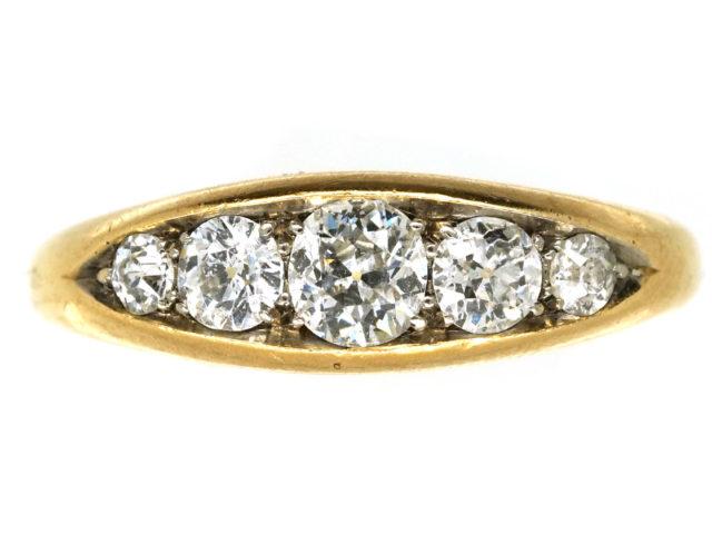 Edwardian 18ct Gold Five Stone Diamond Boat Shaped Ring