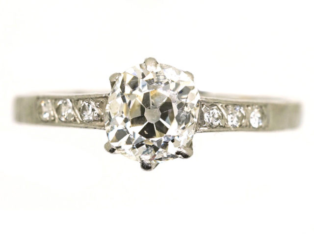 Art Deco Diamond Solitaire Ring With Diamond Set Shoulders