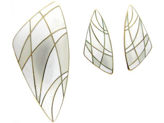 Silver Gilt Enamel Brooch & Earrings by  Eigil Jensen for Anton Michelsen