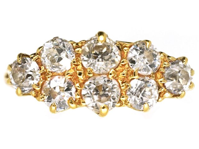 Victorian 18ct Gold & Diamond Boat Shaped Ring