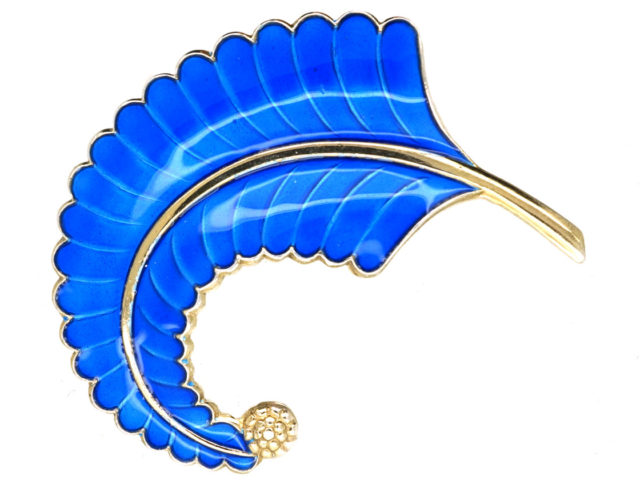 Norwegian Silver & Blue Enamel Feather Brooch by Albert Scharning