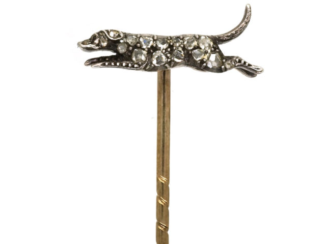 Edwardian Diamond Hound Tie Pin in Original Tessier Case