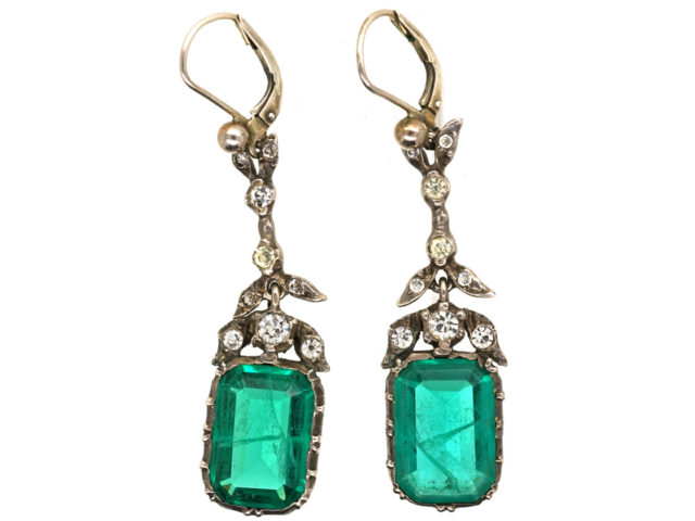 Art Deco Silver & Emerald Paste Drop Earrings