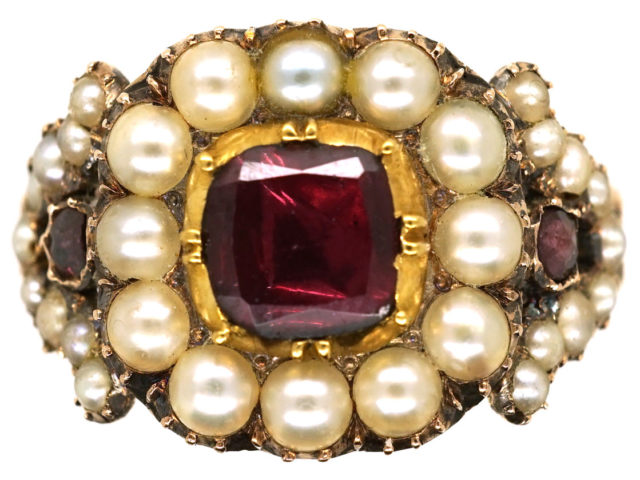 Georgian Gold, Flat Cut Almandine Garnet & Natural Split Pearl Ring