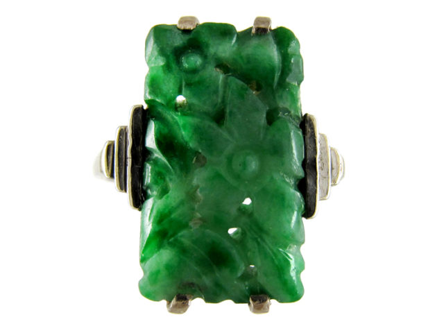 Carved Jade White Gold Art Deco Ring