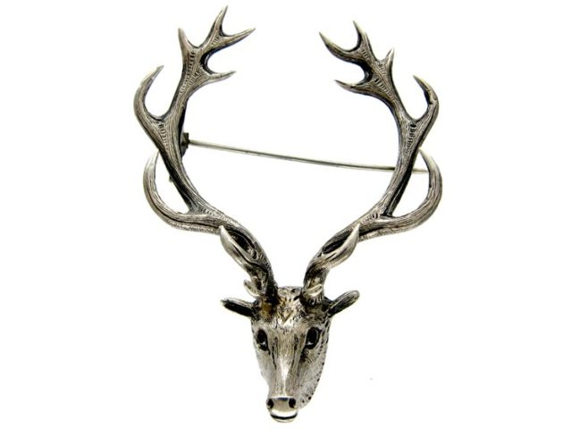 Scottish Silver Stag's Head Brooch