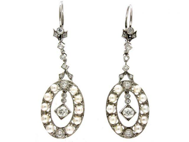 Edwardian Diamond & Natural Pearl Earrings