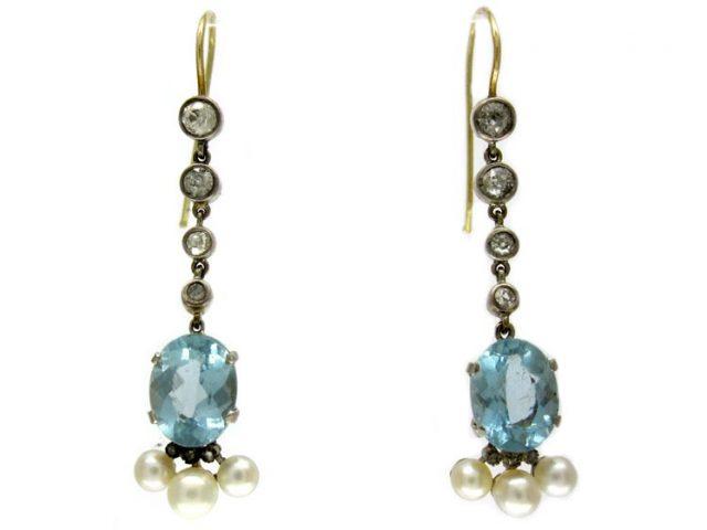 Aquamarine & Natural Pearl Drop Earrings